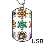 A Set Of 9 Nine Snowflakes On White Dog Tag USB Flash (Two Sides) Front
