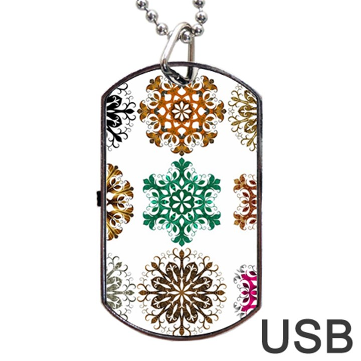 A Set Of 9 Nine Snowflakes On White Dog Tag USB Flash (Two Sides)