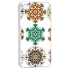 A Set Of 9 Nine Snowflakes On White Apple iPhone 4/4s Seamless Case (White)