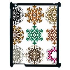 A Set Of 9 Nine Snowflakes On White Apple iPad 2 Case (Black)