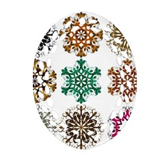 A Set Of 9 Nine Snowflakes On White Oval Filigree Ornament (two Sides)