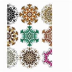A Set Of 9 Nine Snowflakes On White Small Garden Flag (two Sides)