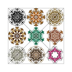 A Set Of 9 Nine Snowflakes On White Acrylic Tangram Puzzle (6  X 6 )