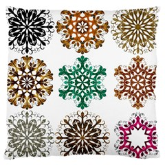 A Set Of 9 Nine Snowflakes On White Large Cushion Case (one Side)