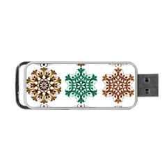 A Set Of 9 Nine Snowflakes On White Portable Usb Flash (one Side)