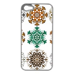 A Set Of 9 Nine Snowflakes On White Apple Iphone 5 Case (silver)