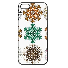 A Set Of 9 Nine Snowflakes On White Apple Iphone 5 Seamless Case (black)