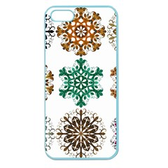 A Set Of 9 Nine Snowflakes On White Apple Seamless Iphone 5 Case (color)