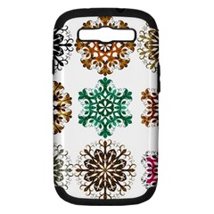 A Set Of 9 Nine Snowflakes On White Samsung Galaxy S Iii Hardshell Case (pc+silicone)