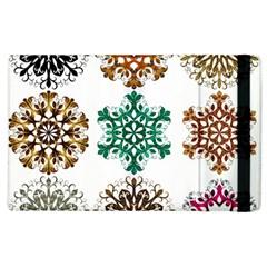 A Set Of 9 Nine Snowflakes On White Apple Ipad 2 Flip Case