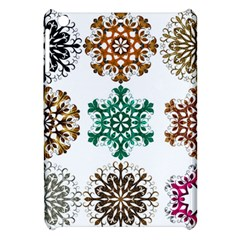 A Set Of 9 Nine Snowflakes On White Apple Ipad Mini Hardshell Case