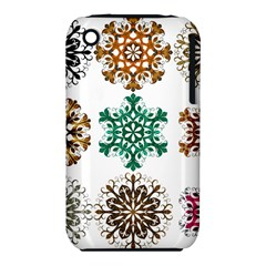 A Set Of 9 Nine Snowflakes On White Iphone 3s/3gs