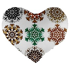 A Set Of 9 Nine Snowflakes On White Large 19  Premium Heart Shape Cushions