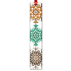 A Set Of 9 Nine Snowflakes On White Large Book Marks