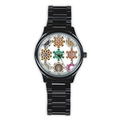 A Set Of 9 Nine Snowflakes On White Stainless Steel Round Watch