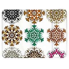 A Set Of 9 Nine Snowflakes On White Samsung Galaxy Tab 7  P1000 Flip Case