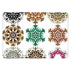 A Set Of 9 Nine Snowflakes On White Samsung Galaxy Tab 8 9  P7300 Flip Case