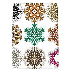 A Set Of 9 Nine Snowflakes On White Flap Covers (s)