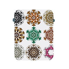 A Set Of 9 Nine Snowflakes On White Apple Ipad 2/3/4 Protective Soft Cases