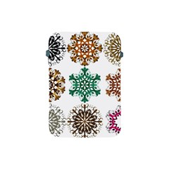 A Set Of 9 Nine Snowflakes On White Apple Ipad Mini Protective Soft Cases