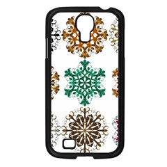 A Set Of 9 Nine Snowflakes On White Samsung Galaxy S4 I9500/ I9505 Case (black)