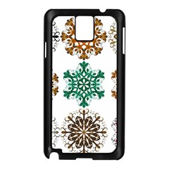 A Set Of 9 Nine Snowflakes On White Samsung Galaxy Note 3 N9005 Case (black)