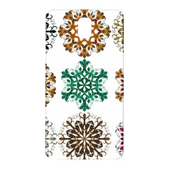 A Set Of 9 Nine Snowflakes On White Samsung Galaxy Note 3 N9005 Hardshell Back Case