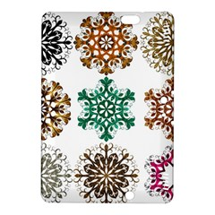 A Set Of 9 Nine Snowflakes On White Kindle Fire Hdx 8 9  Hardshell Case