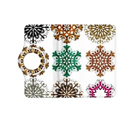 A Set Of 9 Nine Snowflakes On White Kindle Fire Hd (2013) Flip 360 Case