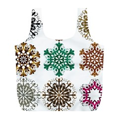 A Set Of 9 Nine Snowflakes On White Full Print Recycle Bags (l)