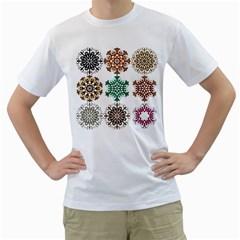 A Set Of 9 Nine Snowflakes On White Men s T Shirt (white)