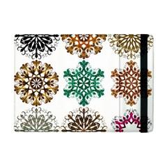 A Set Of 9 Nine Snowflakes On White Ipad Mini 2 Flip Cases