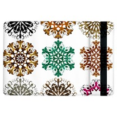 A Set Of 9 Nine Snowflakes On White Ipad Air Flip