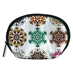 A Set Of 9 Nine Snowflakes On White Accessory Pouches (Medium)