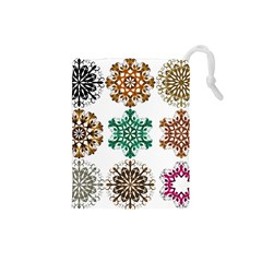 A Set Of 9 Nine Snowflakes On White Drawstring Pouches (small)