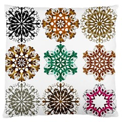 A Set Of 9 Nine Snowflakes On White Standard Flano Cushion Case (one Side)