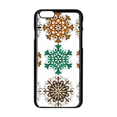 A Set Of 9 Nine Snowflakes On White Apple Iphone 6/6s Black Enamel Case