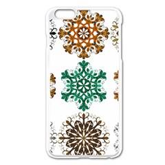 A Set Of 9 Nine Snowflakes On White Apple Iphone 6 Plus/6s Plus Enamel White Case