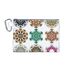 A Set Of 9 Nine Snowflakes On White Canvas Cosmetic Bag (m)