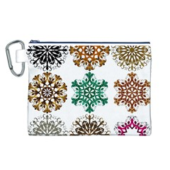 A Set Of 9 Nine Snowflakes On White Canvas Cosmetic Bag (l)