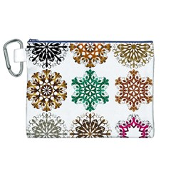 A Set Of 9 Nine Snowflakes On White Canvas Cosmetic Bag (xl)