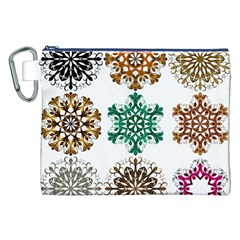 A Set Of 9 Nine Snowflakes On White Canvas Cosmetic Bag (xxl)