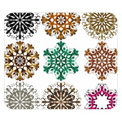 A Set Of 9 Nine Snowflakes On White Double Sided Flano Blanket (small)