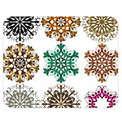 A Set Of 9 Nine Snowflakes On White Double Sided Flano Blanket (medium)