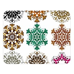 A Set Of 9 Nine Snowflakes On White Double Sided Flano Blanket (large)