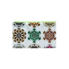 A Set Of 9 Nine Snowflakes On White Cosmetic Bag (xs)