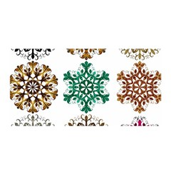 A Set Of 9 Nine Snowflakes On White Satin Wrap
