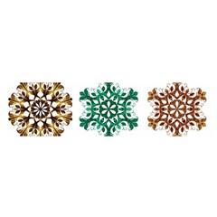 A Set Of 9 Nine Snowflakes On White Satin Scarf (oblong)
