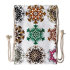 A Set Of 9 Nine Snowflakes On White Drawstring Bag (large)