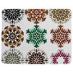 A Set Of 9 Nine Snowflakes On White Jigsaw Puzzle Photo Stand (rectangular)